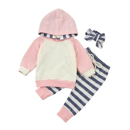 3pcs Infant Toddler Baby Boy Girl Hooded Tops Hoodie+Pants Outfits Set