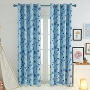 Deconovo Children Curtains Design Print Blackout Space Adventure Grommet Curtains for Bedroom 52 x 84 inch 2 Panels