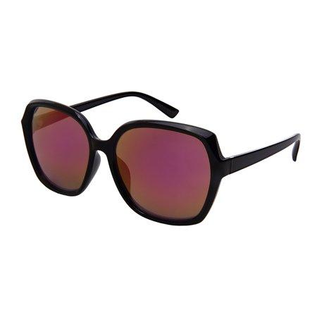 Edge-I Wear Classic Old School Large Square Trapezoid Shape Sunglasses Full Mirror Lense W/Fiber Case 34114-REV-1 ()