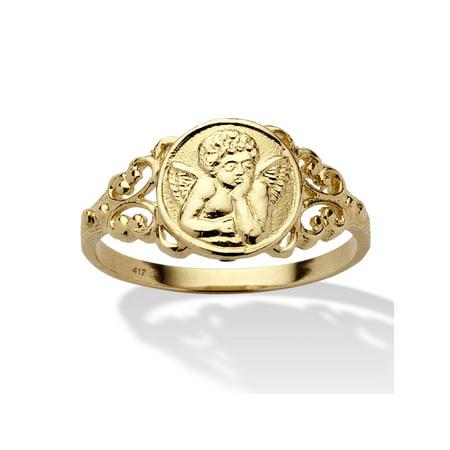 - Cherub Guardian Angel Open Scrollwork Ring in Solid 10k Yellow Gold