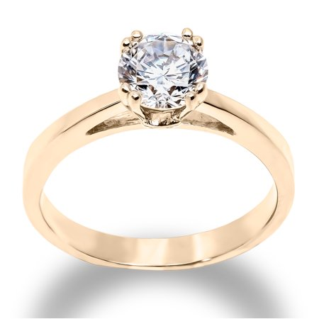 14K Solid Yellow Gold 1 Ct. Round Solitaire CZ Engagement Ring