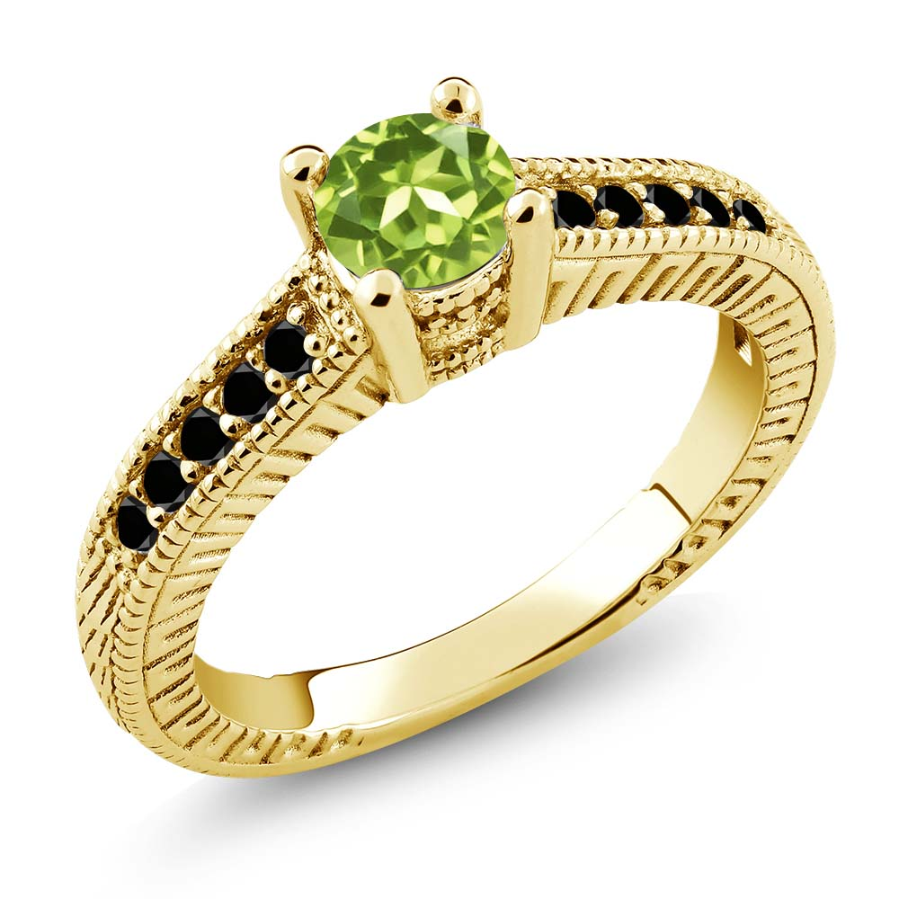 0.77 Ct Round Green Peridot Black Diamond 925 Yellow Gold Plated Silver Ring by