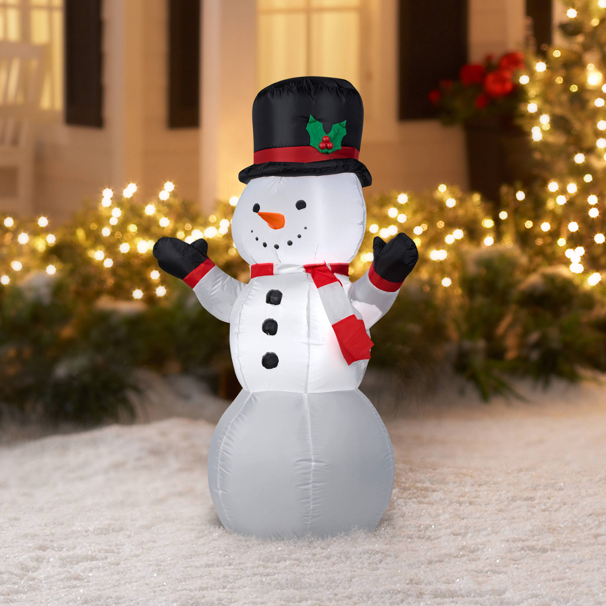 ip en d top decor outdoor hat snowman decorations decoration art christmas with yard winter chenille lighted
