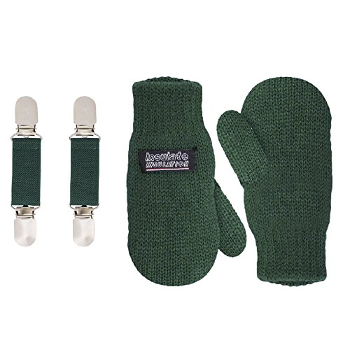 SANREMO Unisex Kids Toddler Knitted Fleece Lined Warm Winter Mittens and Mitten Clips Set (4-6 Years, Hunter Green)