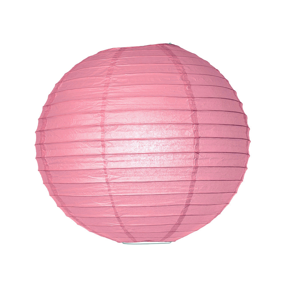 Luna Bazaar Paper Lantern (14-Inch, Parallel Style Ribbed, Pink) - Rice Paper Chinese/Japanese Hanging Decoration - For Home Decor, Parties, and Weddings