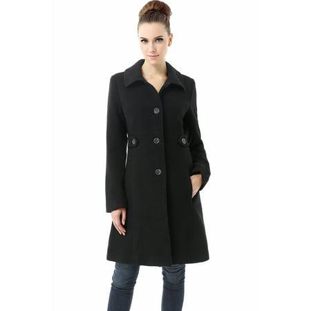 BGSD Womens Heather Wool Blend Walking Coat (Regular & Plus Size)