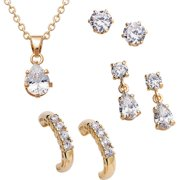 14.46 Carat T.G.W. CZ 14kt Gold-Plated Pendant With 3 Piece Earring Set