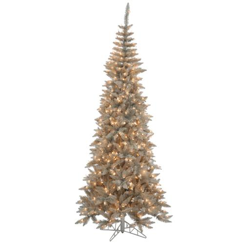 6.5' Slim Grey Fir Artificial Christmas Tree - Clear Lights