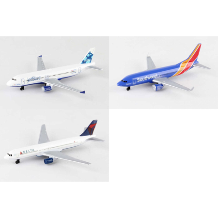 "Jetblue, Southwest, Delta Airlines Diecast Airplane Package - Three 5.5"" Diecast Model Planes"