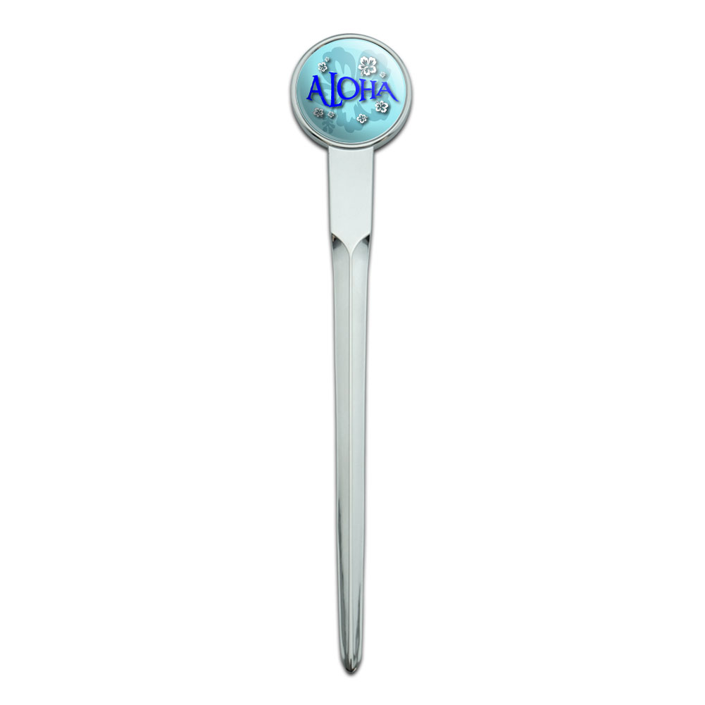 Aloha Hawaiian Greeting Hibiscus Flowers Classic Metal Envelope Letter Opener by Graphics and More