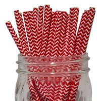 Just Artifacts 100pcs Decorative Chevron Striped Paper Straws (Chevron Striped, Red) - Decorative Paper Straws for Birthday Parties, Weddings, Baby Showers, and Life Celebrations!