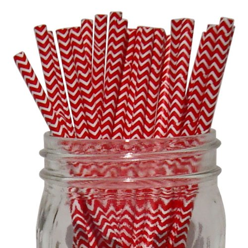 Just Artifacts 100pcs Decorative Chevron Striped Paper Straws (Chevron Striped, Red)