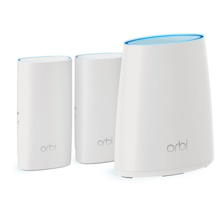 NETGEAR Orbi Whole Home Mesh WiFi System with Tri-band – Eliminate WiFi dead zones, Simple plug-in setup, Single network name, Up to 5,000 sqft, AC2200 (Set of 3)