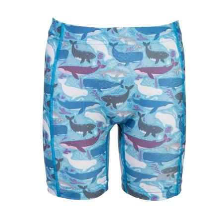IST Kids Swim Shorts, Spandex Swimwear Rash Guard Bottoms for Girls & Boys at the Beach & Pool- (Blue Whale, L)
