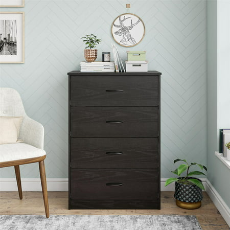 Mainstays Classic 4 Drawer Dresser, Black Oak Finish