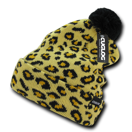 Atakora Fully Lined Youth Leopard Spots Beanies Beany For Men Women Pom Style Winter Caps Hats