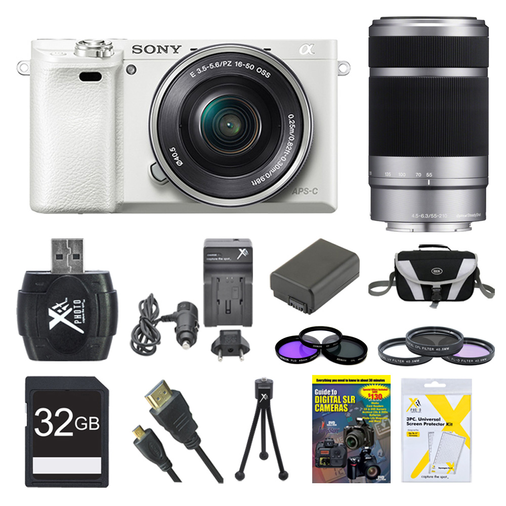 Sony a6000 ILCE6000LW ILCE-6000L/W ILCE6000 Alpha a6000 24.3 Interchangeable Lens Camera with 16-50mm Power Zoom Lens BUNDLE with SEL 55-210 (White), Sony 32GB Class 10 Card, Spare Battery and More