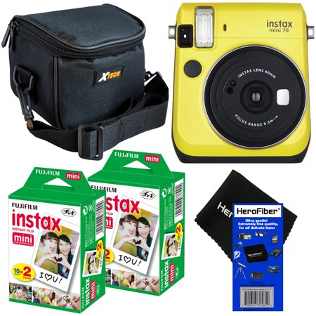 Fujifilm Instax Mini 70 Instant Film Camera (Canary Yellow) + Fujifilm Instax Mini Instant Film (40 sheets) + Xtech Well Padded Camera Case with Pocket & Strap + HeroFiber® Ultra Gentle Cleaning