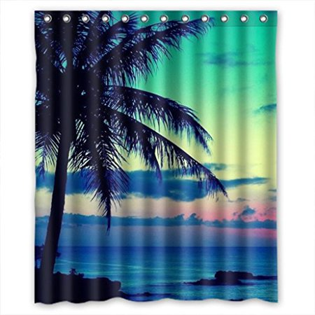 Ganma Clear Glam Sunset Clouds Sky Blue Sea Shower Curtain Polyester ...
