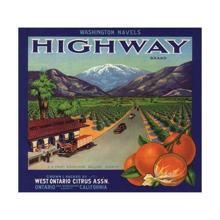 Highway Brand - Ontario, California - Citrus Crate Label Print Wall Art By Lantern (Ontario Mills California)