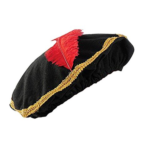 Red Feather Renaissance Hat with Gold Trim (One)](Renaissance Hat)