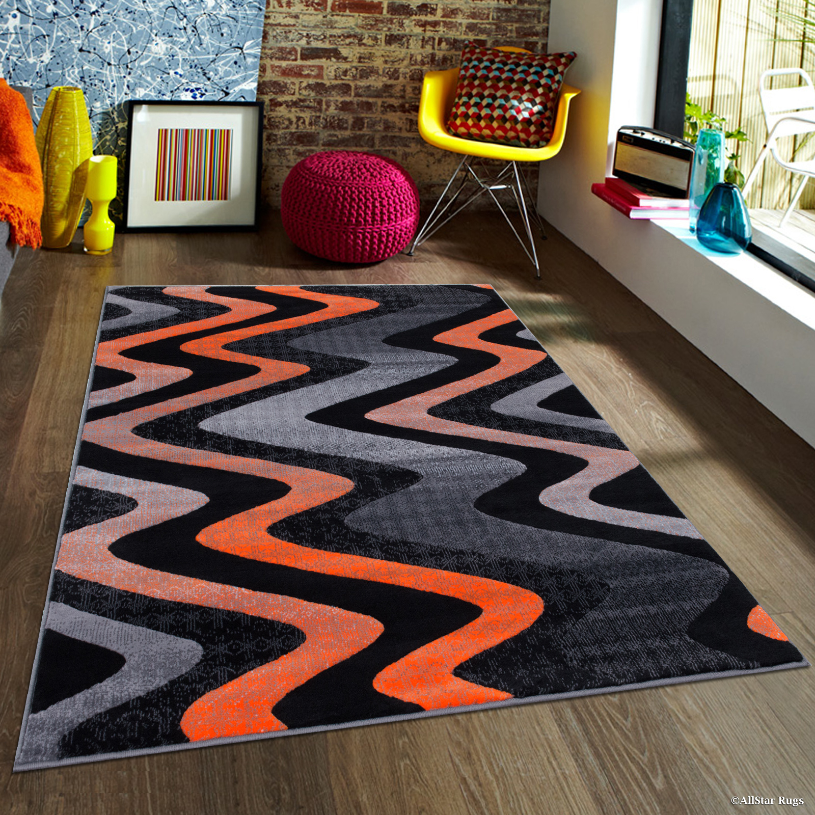 "Orange Allstar Modern. Contemporary Woven Rug. Drop-Stitch weave technique. Carve Effect. Vivid Pop Colors (7' 10"" x 10')"
