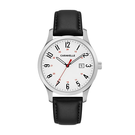 Caravelle Black Dial - Caravelle Men's Black Leather Easy Reader Watch 40mm