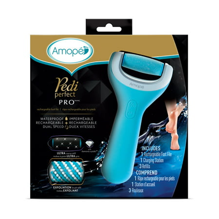 Amope Pedi Perfect Wet & Dry Rechargeable Foot File, Regular Coarse with 2 Bonus Roller Head Refills