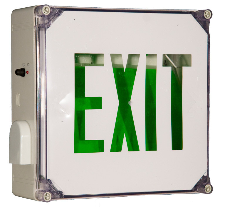 Wet Location LED Exit Sign Battery Backup Units Green