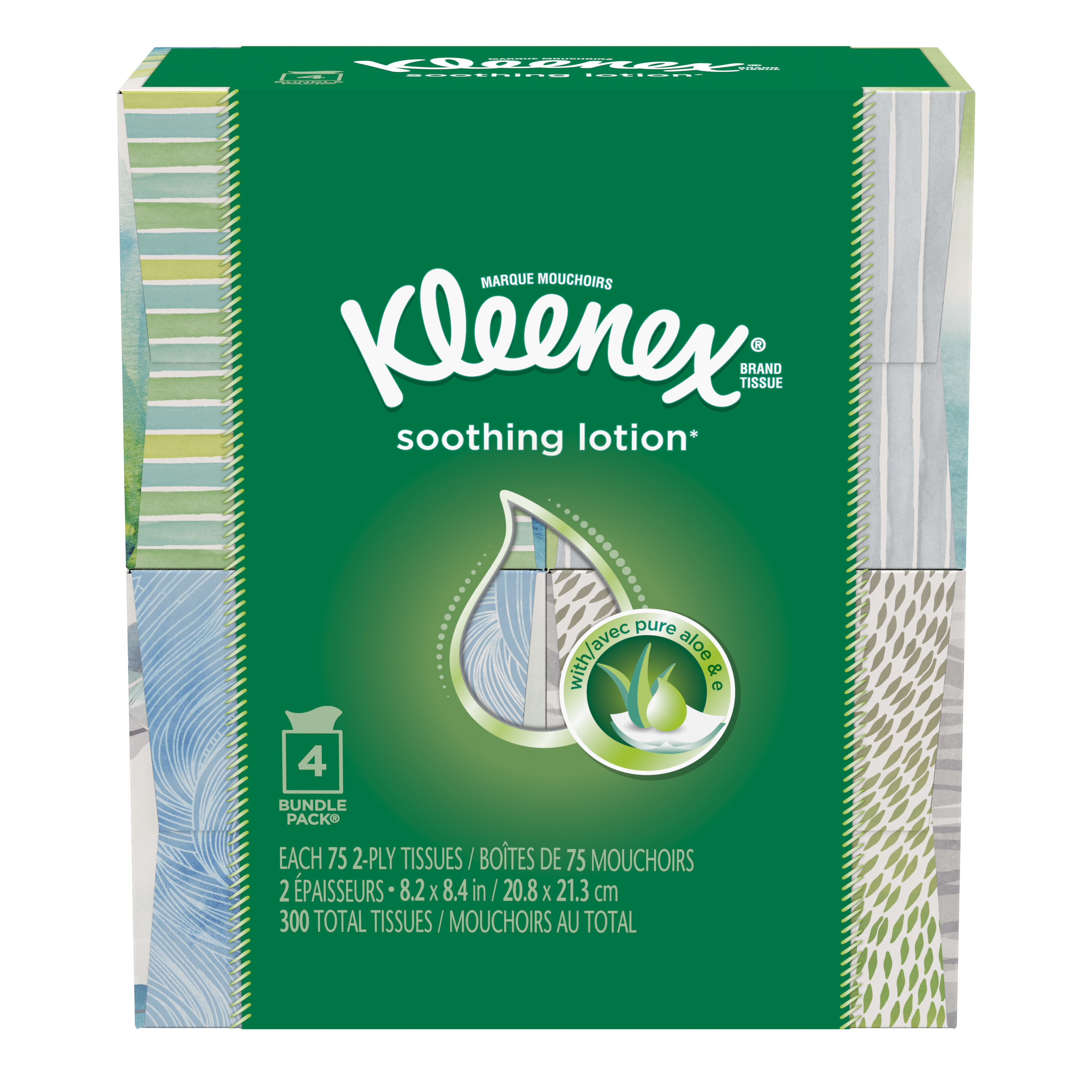Kleenex with Lotion,75 sheets per Cube, 4 Pack, Facial Tissues