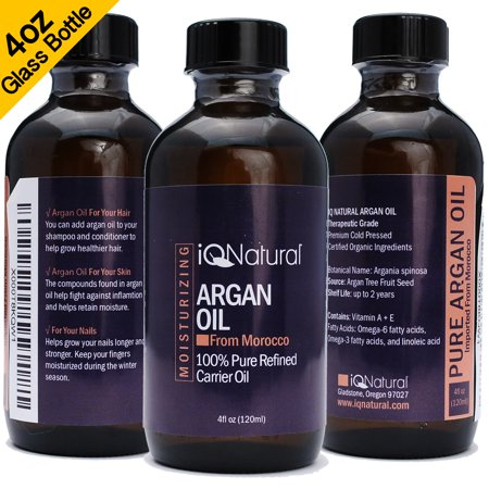 Moroccan Argan Oil (4oz), Certified Organic, Virgin, 100% Pure, Cold Pressed by IQ Natural. Activate Growth for Dry and Damaged Hair. Skin Moisturizer. Nails