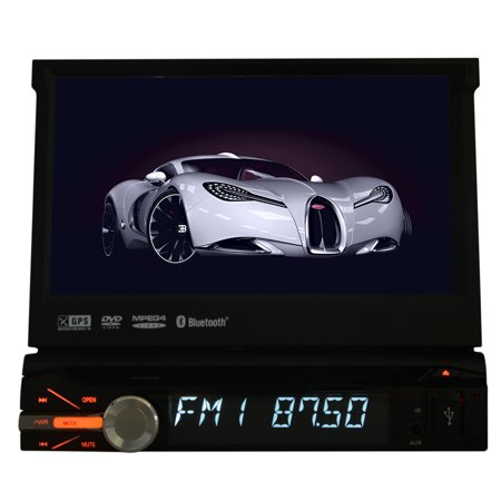 7 Inch HD Digital Touch Screen Universal 1 Single Din In Dash Car Stereo Autoradio DVD Player With GPS Navigation Hand Free Bluetooth FM AM Audio iPod And Slip-Out Touchscreen Design+ Free 8GB GPS Ma