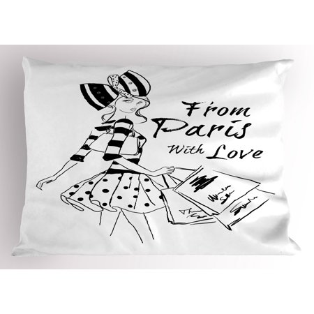 Paris Pillow Sham From Paris with Love Fashion Hand Drawn Girl Figure Shopping Polka Dot Design Skirt, Decorative Standard Queen Size Printed Pillowcase, 30 X 20 Inches, Black White, by Ambesonne