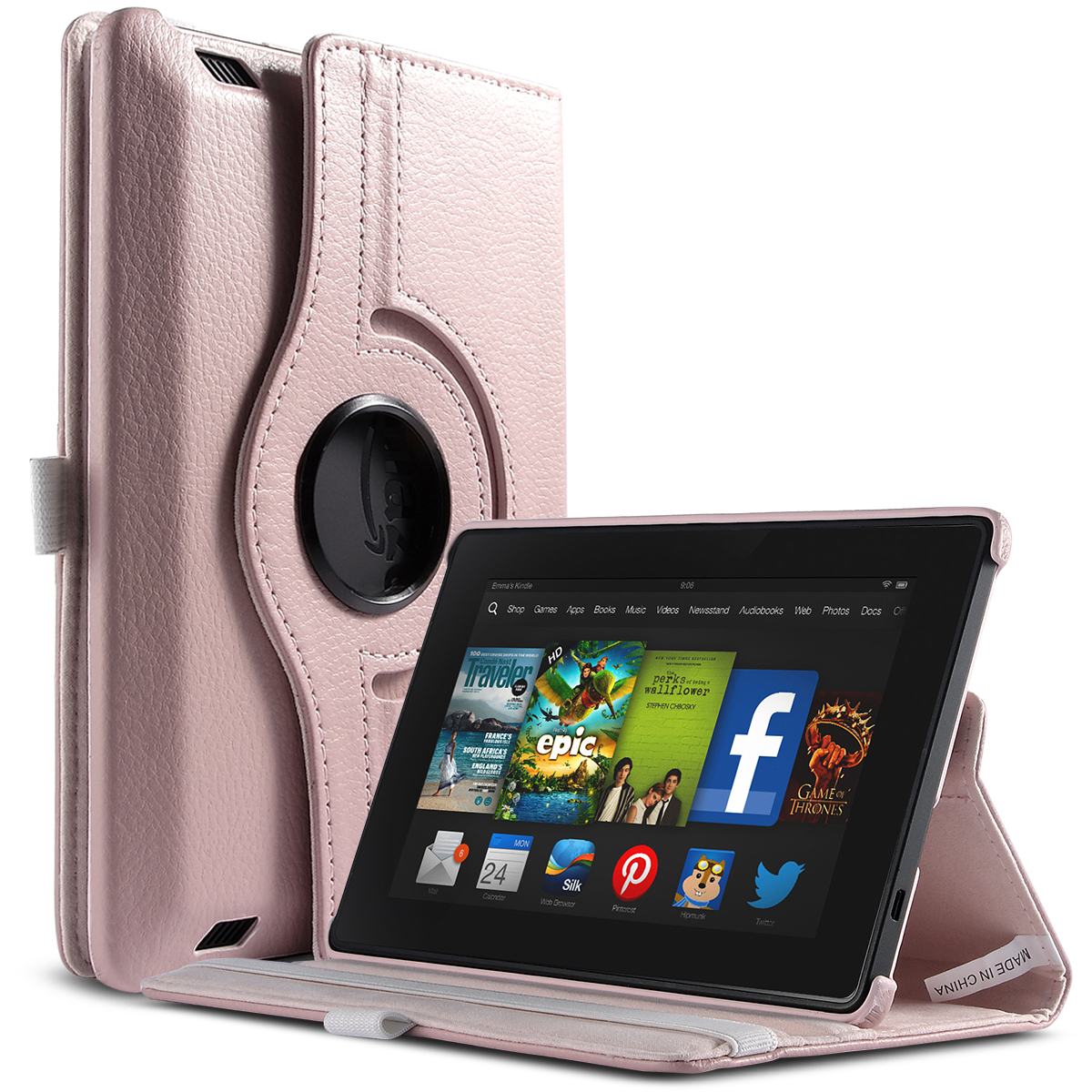 "ULAK PU Leather 360 Degree Rotating Stand Case Cover for New Kindle Fire HD 7.0"" 2013 Gen with Smart Cover Wake/Sleep Feature"
