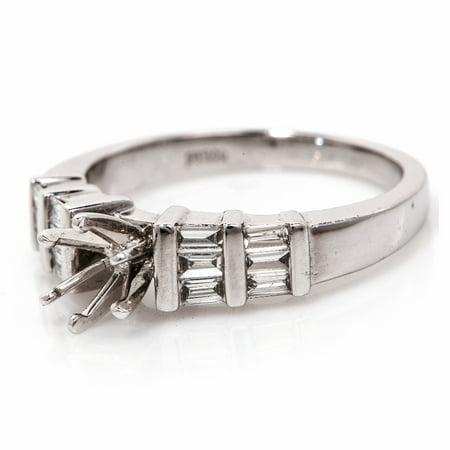 Diamond Platinum Semi Mount Solitaire Engagement Ring Setting (Platinum Semi Bezel Setting)