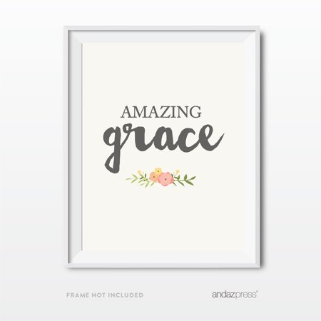 Amazing Grace Bible Verses Religious Wall Art, Coral Pink Floral Roses