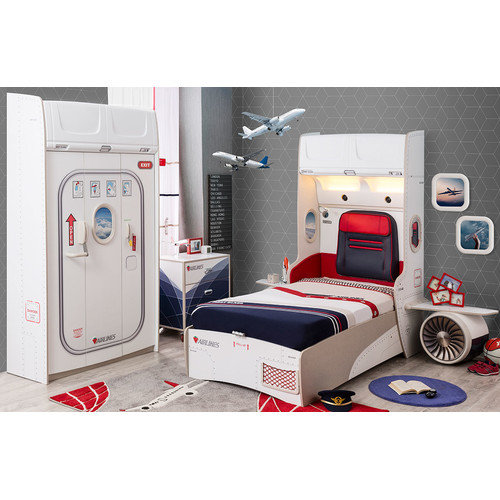 Cilek First Class Airplane Extra Twin Upholstered Customizable Bedroom Set