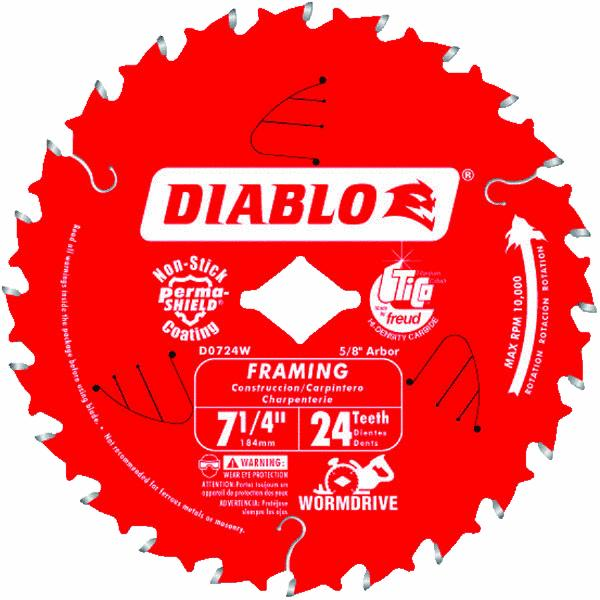 Freud 7-1/4'' 24T Diablo  Worm Drive Circular Saw Framing Blade (Set of 10)