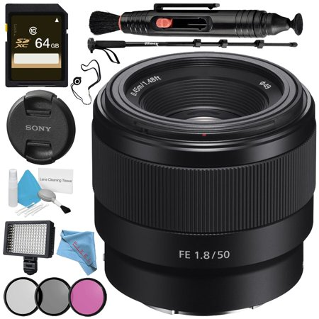 Sony FE 50mm f/1.8 Lens + 49mm 3 Piece Filter Kit + Professional 160 LED Video Light Studio Series + 64GB SDXC Card + Lens Pen Cleaner + 70in Monopod + Deluxe Cleaning Kit Bundle