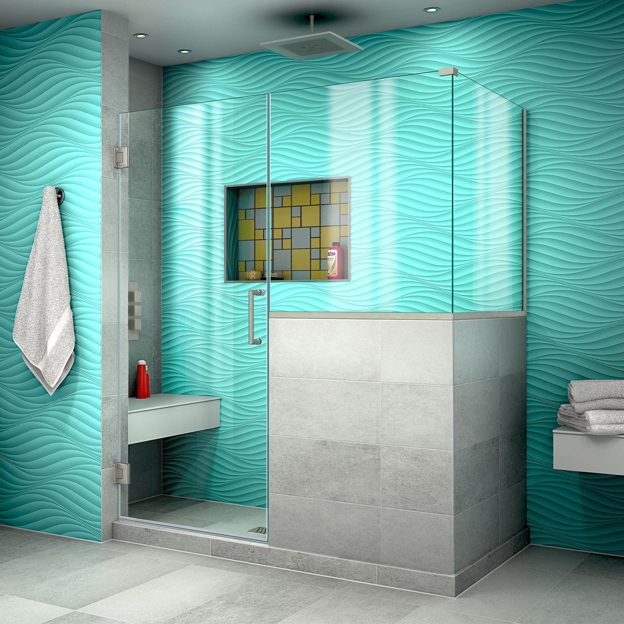 DreamLine Unidoor Plus 54 in. W x 30 3/8 in. D x 72 in. H Frameless Hinged Shower Enclosure in Brushed Nickel