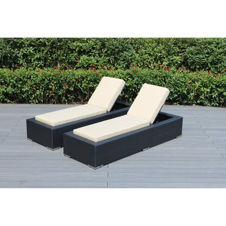 Ohana black resin wicker outdoor patio 2 piece chaise for Belmont 4 piece brown wicker patio chaise lounge set