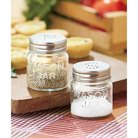 2 Piece Jar - 2 Piece Country Mason Jar Salt and Pepper Shakers Set Kitchen Counter Top Set
