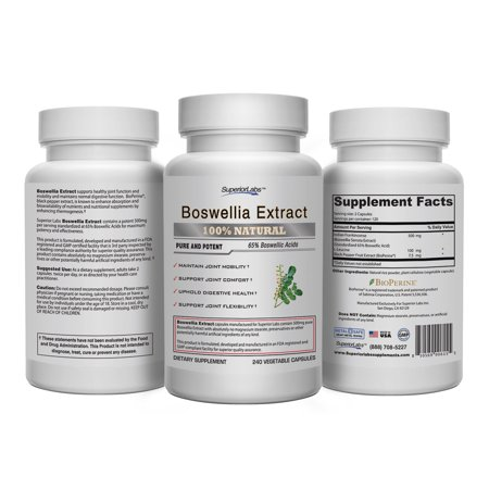 1 Boswellia Extract By Superior Labs   Non Synthetic  500Mg  240 Vegetable Caps