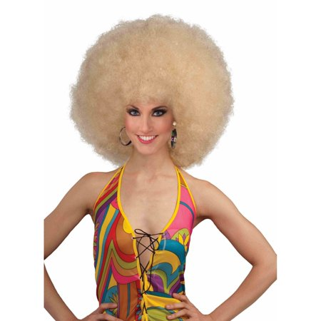 Blonde Deluxe Mega Afro Halloween Costume Accessory - Dumb Blonde Halloween Costume