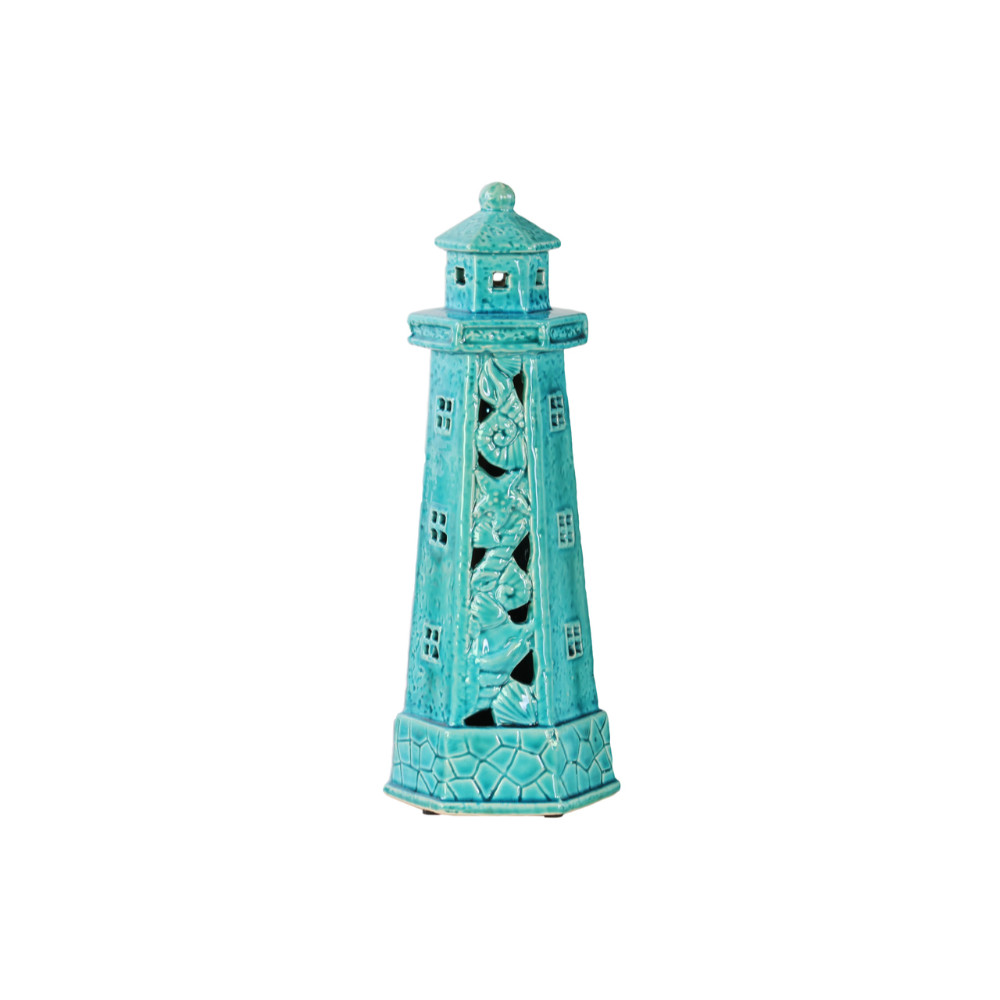 Lighthouse Figurine with Cutout and Seashell Blue Benzara by Benzara