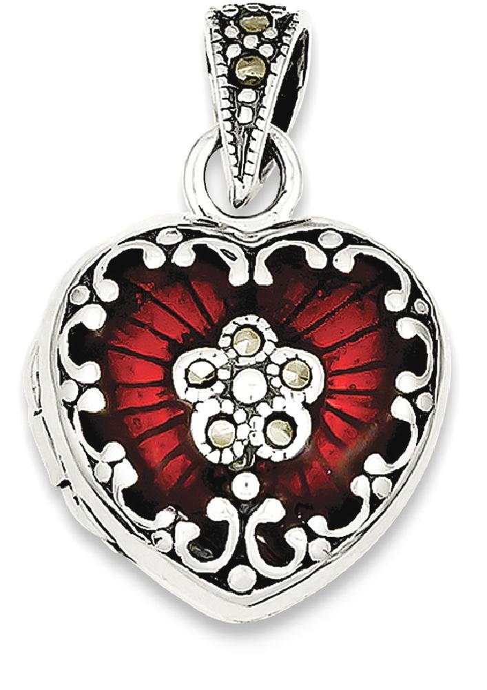 ICE CARATS 925 Sterling Silver Red Enamel Marcasite Heart Photo Pendant Charm Locket Chain Necklace That Holds Pictures... by IceCarats Designer Jewelry Gift USA