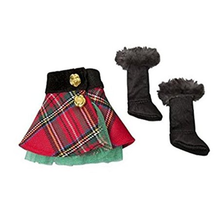 The Elf on the Shelf Claus Couture Collection Tartan Skirt and Boots