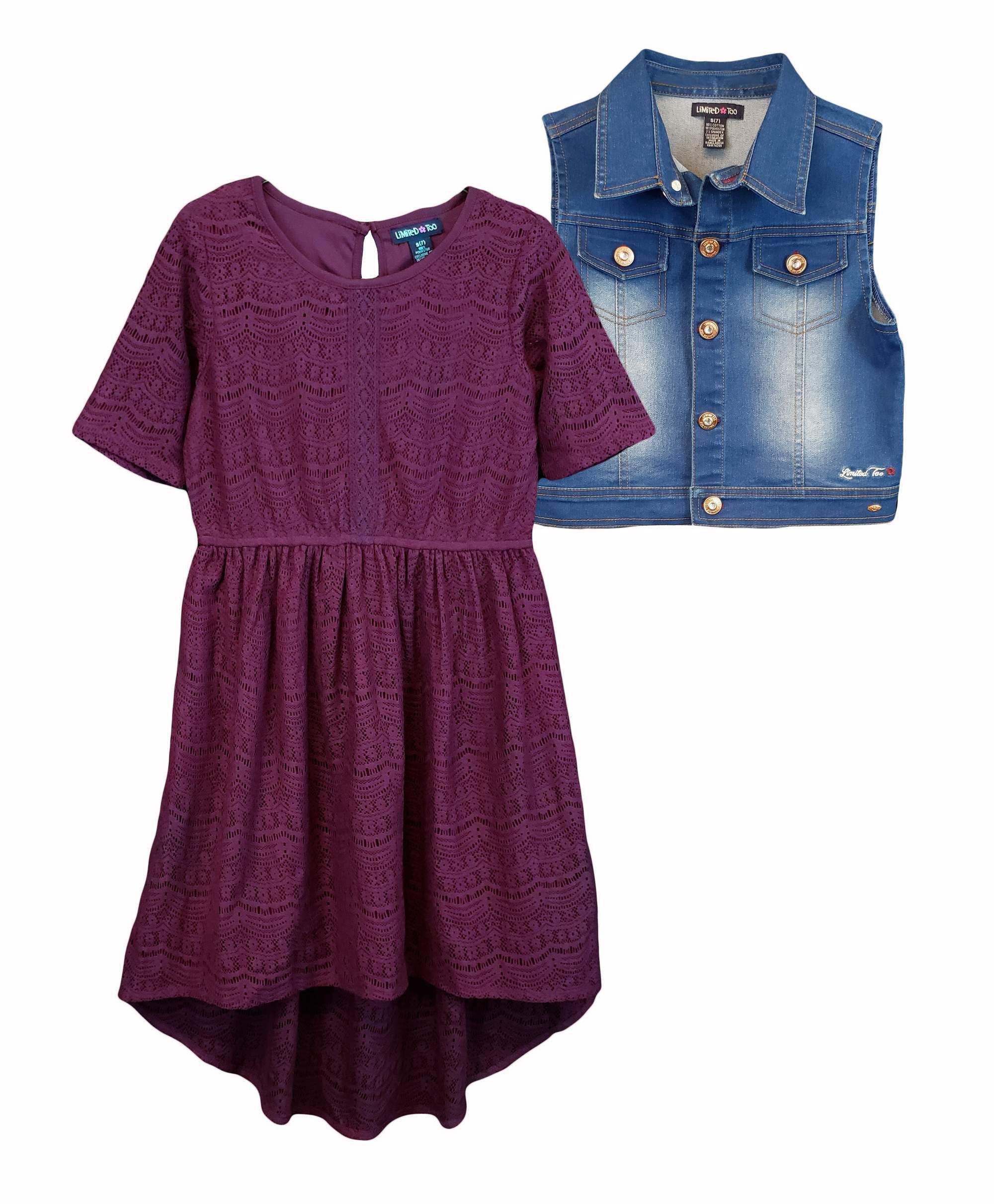 Lace Dress With Denim Vest, 2-Piece Set (Big Girls)
