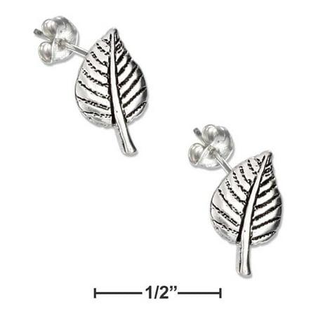 STERLING SILVER MINI ASPEN LEAF EARRINGS ON STAINLESS STEEL POSTS AND (Aspen Earings)