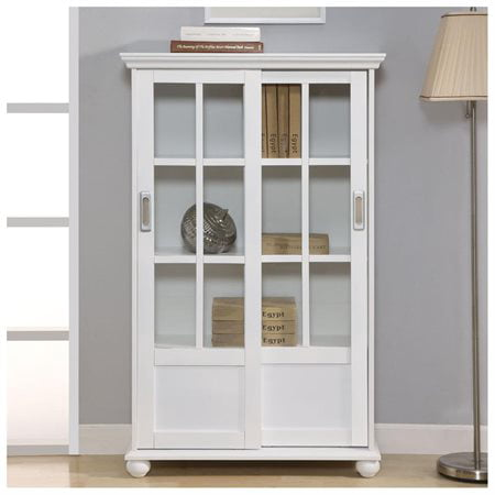 Altra 9448096 Bookcase With Sliding Glass Doors White